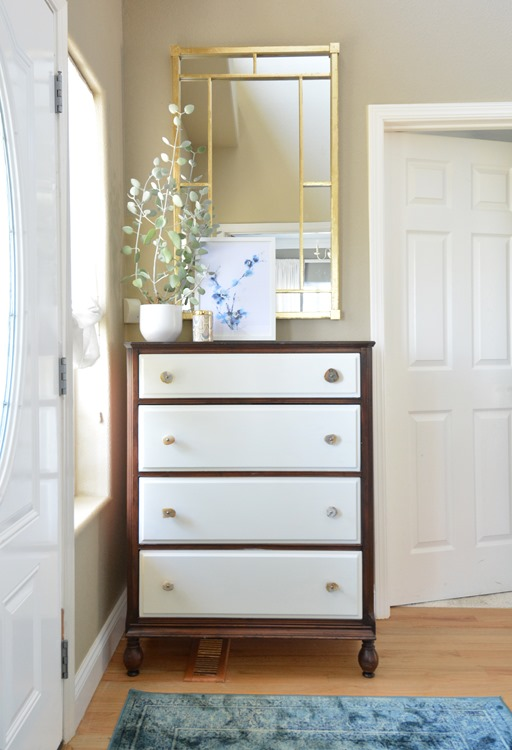 painted drawers on dresser gold leaf mirror