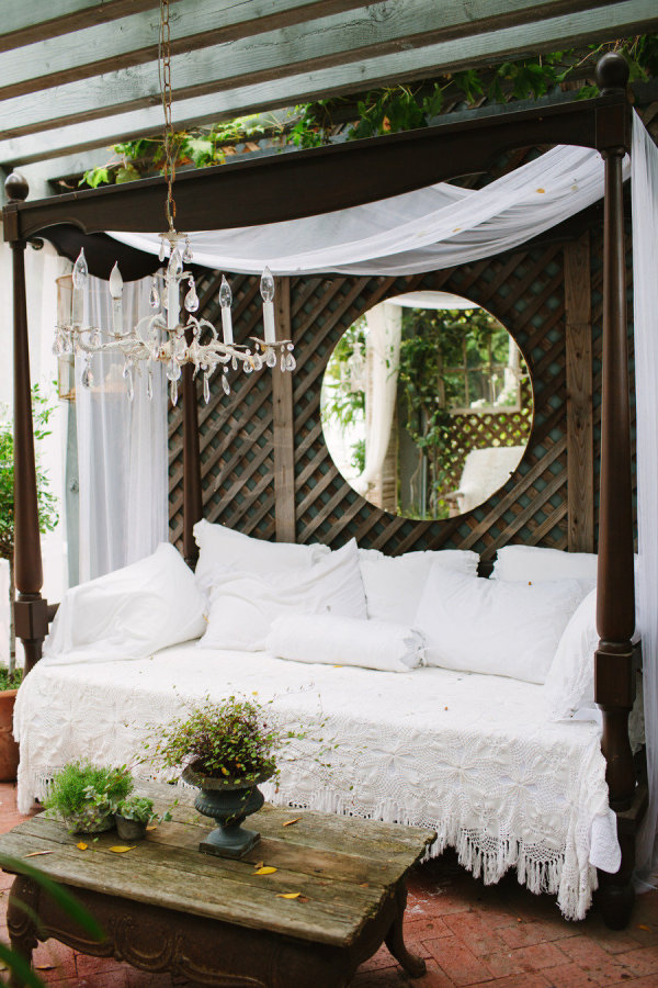 romantic outdoor bed