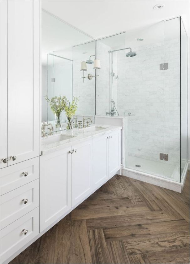 herringbone pattern bathroom floor