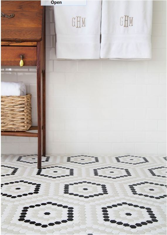 House beautiful bathrooms 2016 - Hexagon Bathroom Floor Tile Centsational Style