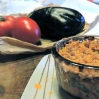 Crumble aubergines et tomates au parmesan