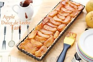 Apple dulce de leche tart