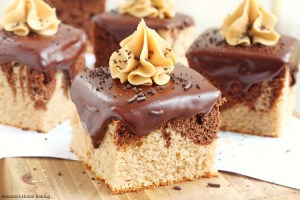 Peanut butter and chocolate cake squares