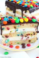 M&M's cake with cream cheese frosting and chocolate ganache recipe