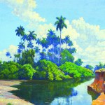 Domingo Ramos, Paisaje con Río y Palmeras (Landscape with River and Palm Trees), 1950, oil on canvas laid down on wood, 35½ x 47¼ inches. Private Collection, Miami, Florida. Image courtesy of Cernuda Arte.