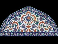Tile Lunette, Composite body (quartz, clay, and glaze frit) with colors painted on white slip under clear glaze. Bequest of Mrs. Martin Brimmer / MUSEUM OF FINE ARTS, BOSTON. The MFA Boston began collecting objects in 1903.