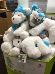Some of the Christmas elves from Kay Jewelers delivered provided stuffed animals for our Children's Program on 12/22/15