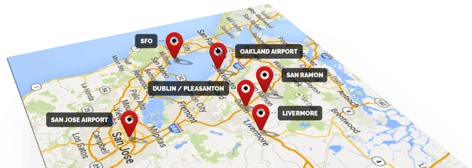 Service area map, including Dublin, Pleasanton, Livermore, San Ramon, SFO, Oakland Airport, and San Jose Airport