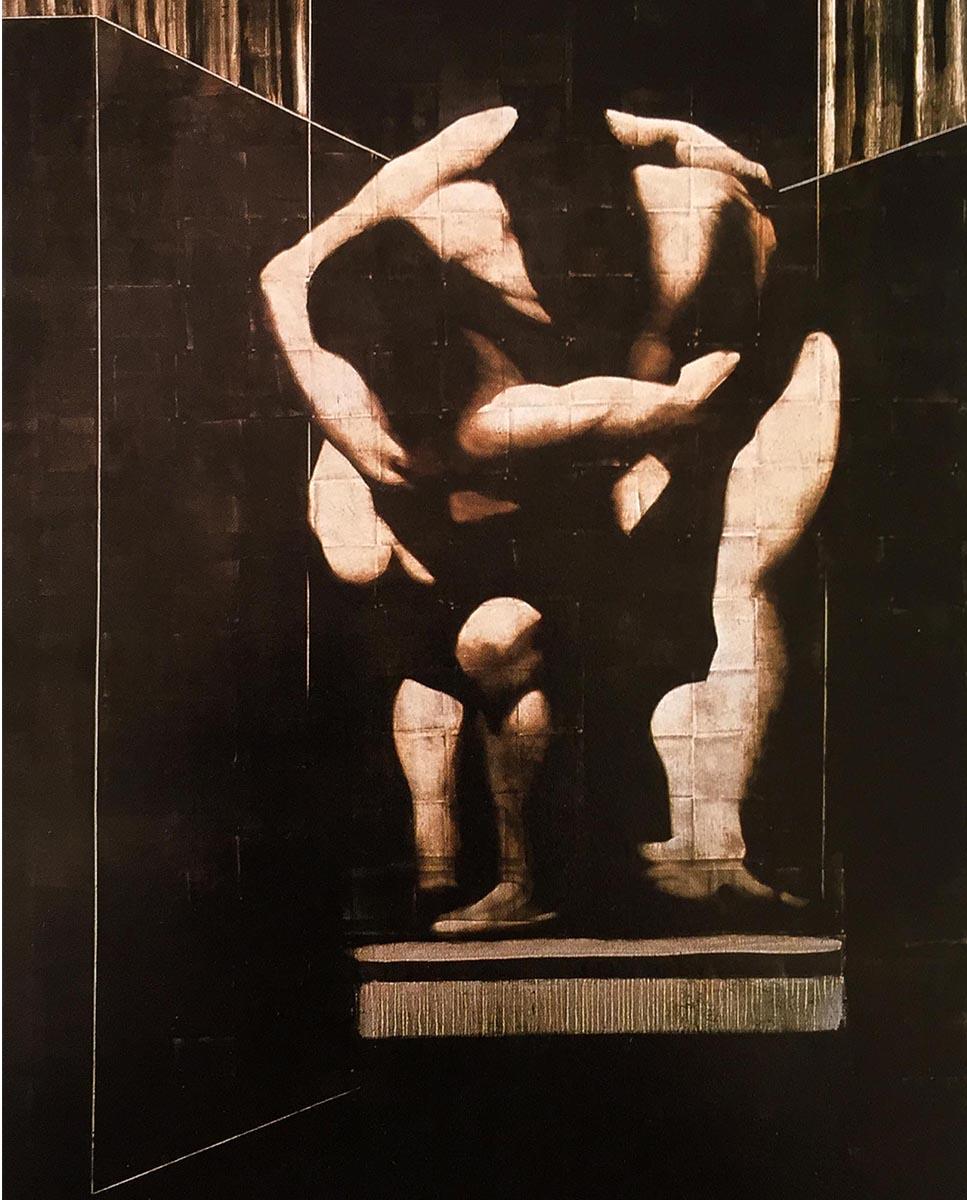 Carravagio Influence_0000_Wrestling Men Series Painting #1 84x60