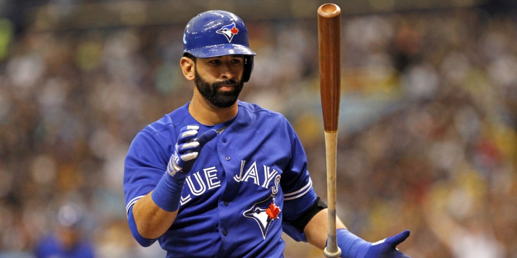 ST. PETERSBURG, FL - MARCH 31: Jose Bautista #19 of the Toronto Blue Jays reacts after striking out swinging to end the top of the first inning of a game against the Tampa Bay Rays on March 31, 2014 at Tropicana Field in St. Petersburg, Florida. (Photo by Brian Blanco/Getty Images)