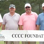 Members of the first flight winning team in the Central Carolina Community College Foundation Chatham Golf Classic were Bobby Powell, David Wicker, Jack Radley, and Andy Phillips.