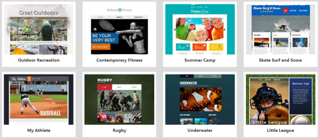 website builder sports templates