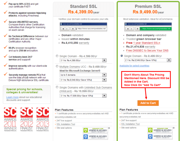 Godaddy SSL Plans