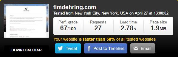 media temple hosted website-speed test results