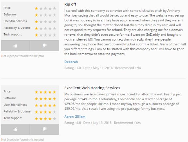 CoolHandle Customers Reviews Webhostinggeeks