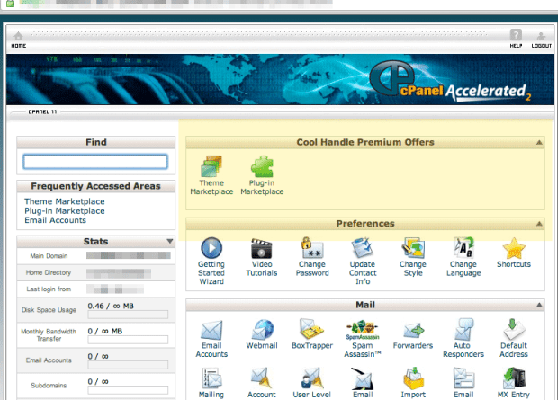 coolhandle cpanel control panel