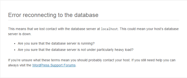 Godaddy Database error