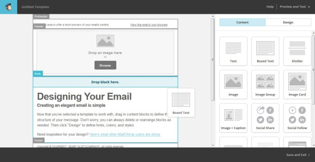 mailchimp email newsletter editor
