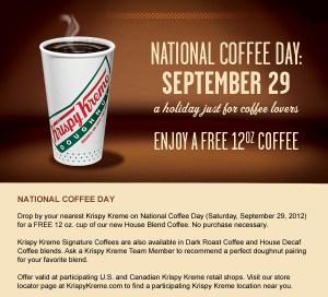 Krispy Kreme Free Coffee