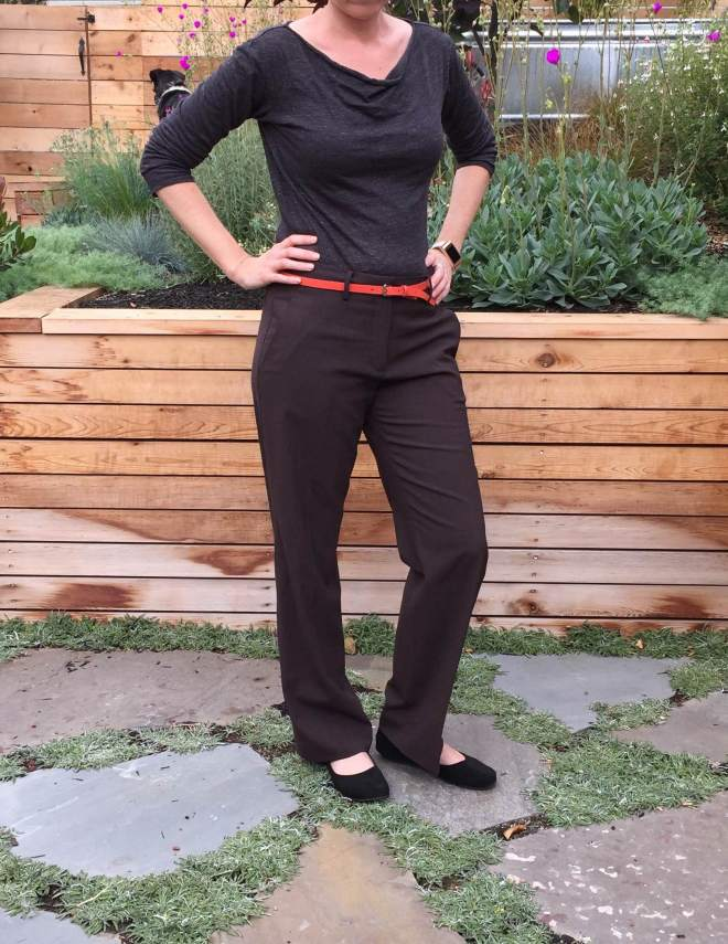 Shirt, pants, and belt.