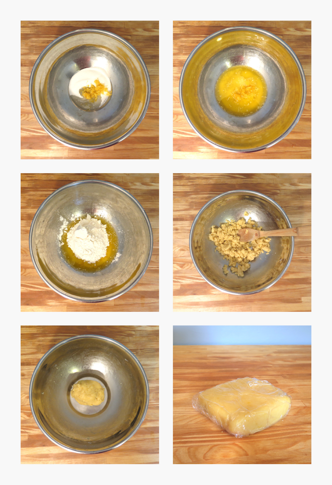 A montage showing the steps for mixing the shortbread dough.