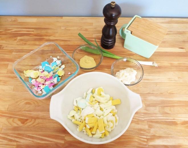 Chopped eggs in a bowl.