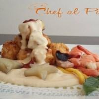 Chicharrón  de pota con salsa blanca y mariscos