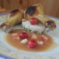piernas de pollo con puré de manzana