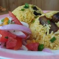 Arroz con Chancho y salsa Criolla