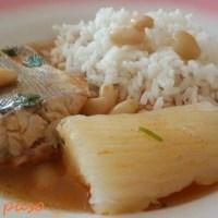 sudado de cachema con arroz blanco.