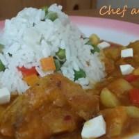 Locro de zapallo con pollo y arroz blanco