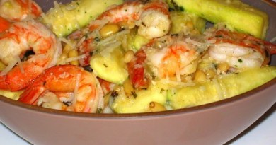 салат с креветками и цукини