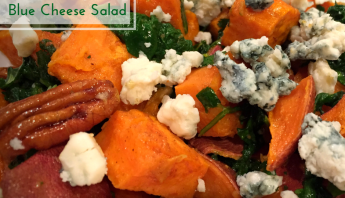 Roasted Sweet Potato, Spinach and Blue Cheese Salad or Side Dish ...