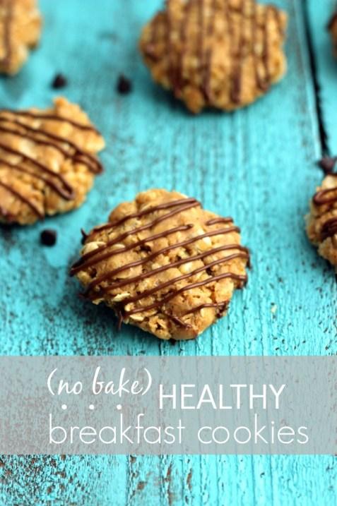 Peanut Butter no bake healthy breakfast cookies