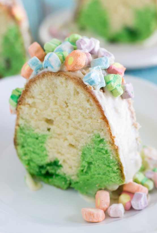 Slice of St. Patrick's Day Bundt Cake