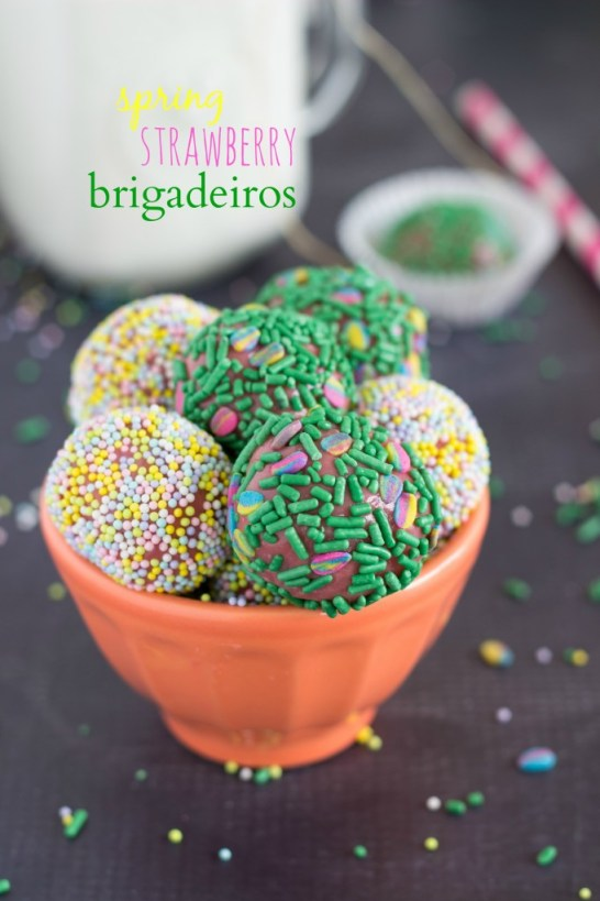 Spring strawberry fudge brigadeiros