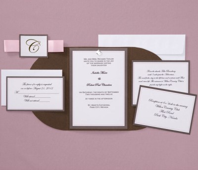 chocolate and pink wedding invitation designs