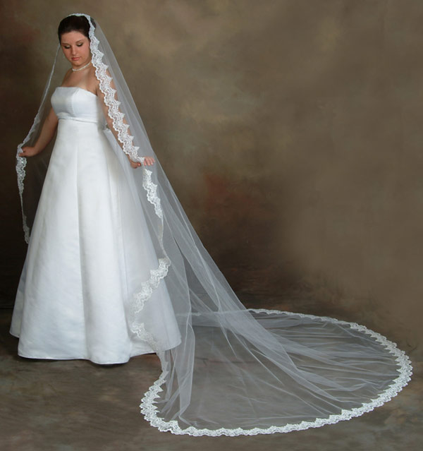 Long wedding veils cherrymarry for Long veil wedding dresses