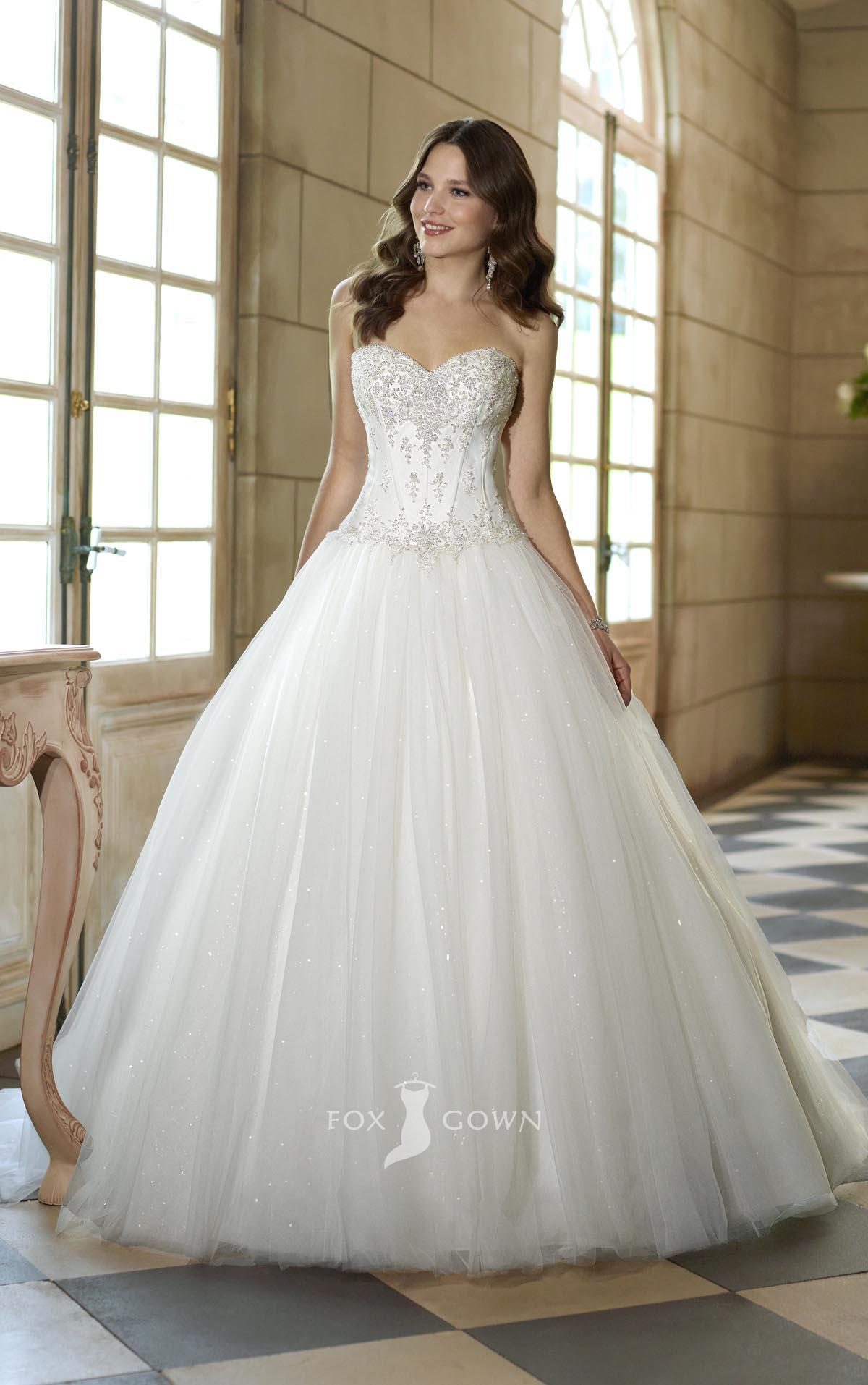 strapless sweetheart corset wedding dress with ball gown
