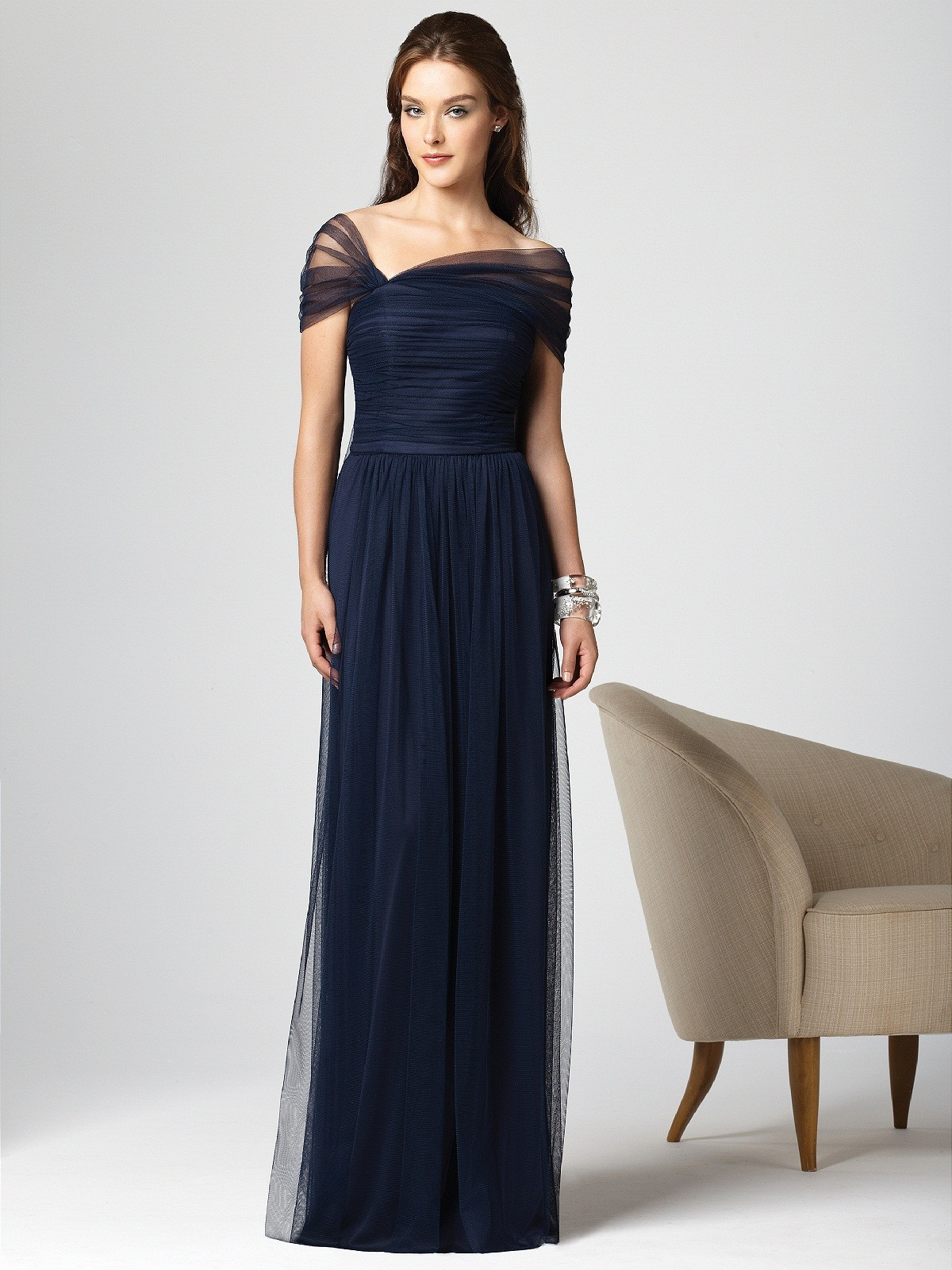 Navy blue floor length bridesmaid dress with sleeves for Blue wedding dress with sleeves