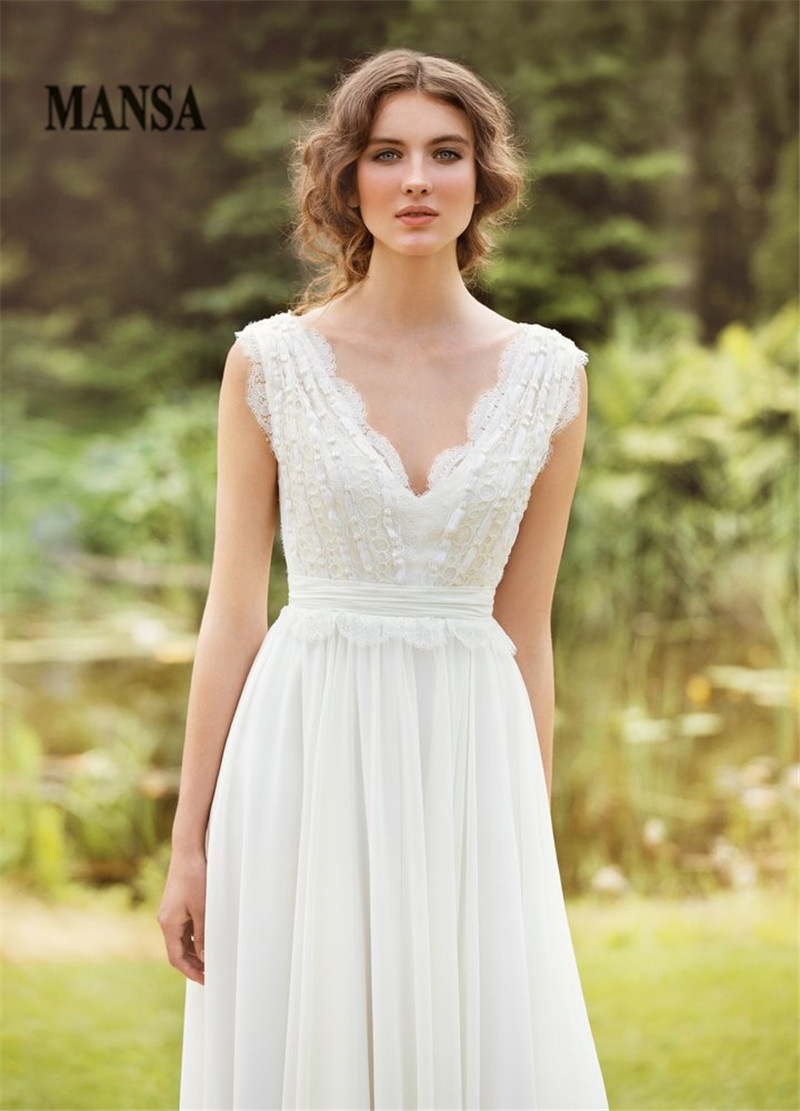 Simple Country V Neck Wedding Dress Cherrymarry