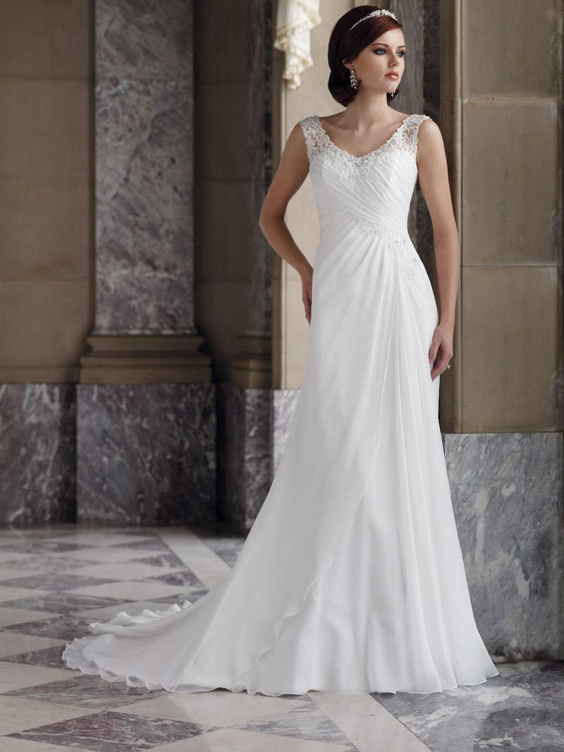 Simple wedding dress with straps cherrymarry for Plain wedding dresses with straps