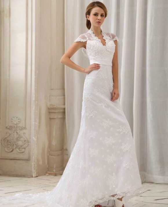 Simple lace wedding dresses with sleeves for modest look for Capped sleeves wedding dress