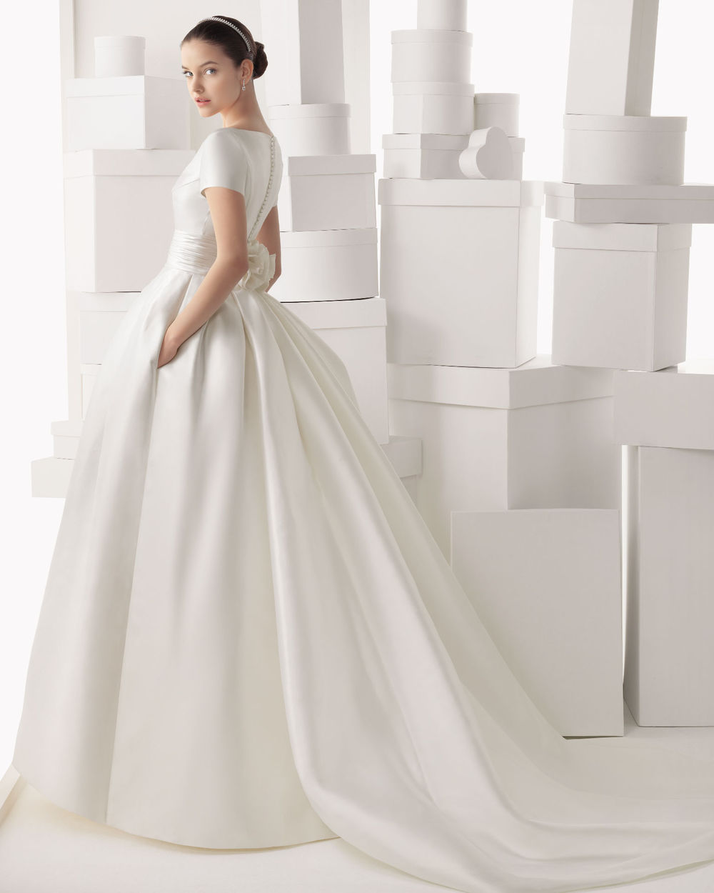 Ball Gown Wedding Dresses With Short Sleeves : Colored ball gown wedding dress with short sleeves