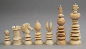 "Lund Ivory Chess Set, 3.7"" King"