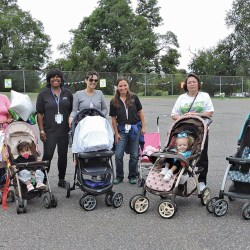 April Burke, Nikki Burke, Sandra Rico, Jenaira Soza, Jael Coursey, Amy Martin, Blanca Soto, Amiana Rivera, Minerva Rosario and Javier Maleona fit a nice walk in prior to the rain at the women and family health fair.