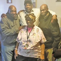 Dianne O'Loughlin (in front), brothers LeRoy Handy (at left), Eddie Clark (in middle), Louis Handy (at right)
