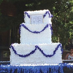 "A 125th Anniversary ""cake"" was made."