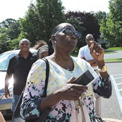 Chester Township resident Cassandra Black said she was turned away from Brookhaven for food but her white foster children were welcomed. Brookhaven officials deny the accusation.