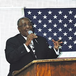 Wendell N. Butler, Jr, Republican candidate for mayor of Chester, addresses supporters during a recent campaign opening event.